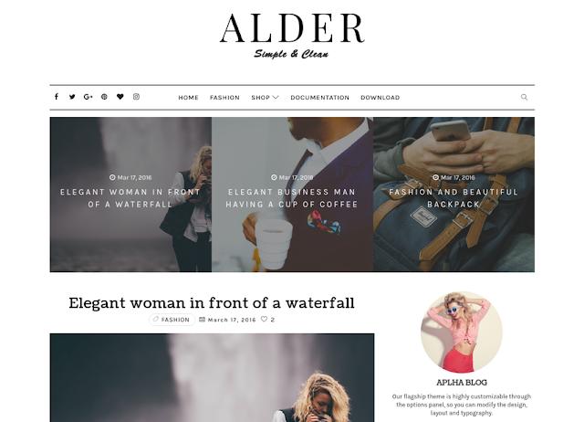 Alder Clean/Simple Blogger Template
