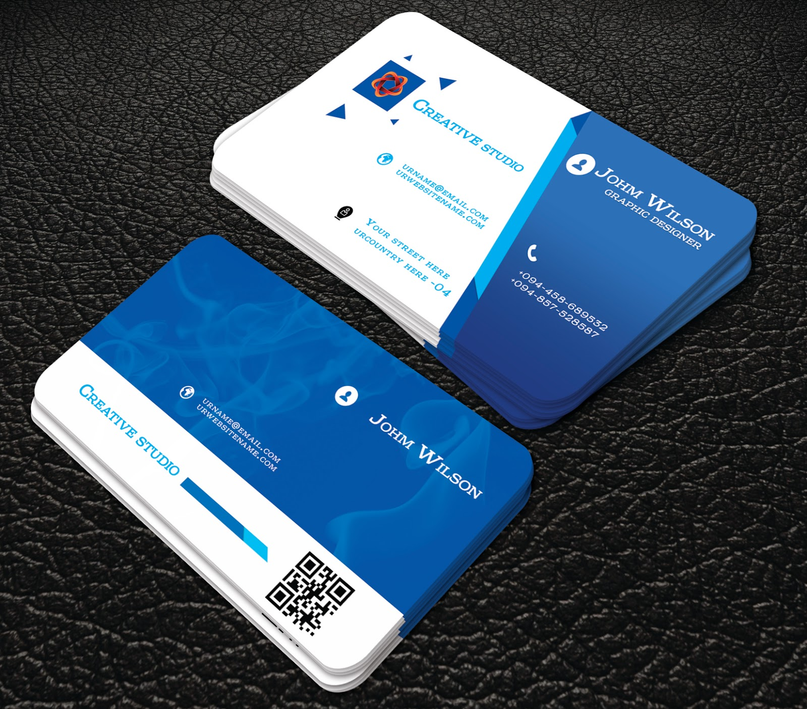 Free download blue colour business cards professional for Professional business card templates free
