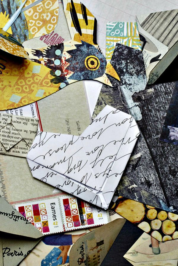 assortment of papers and folded paper heart