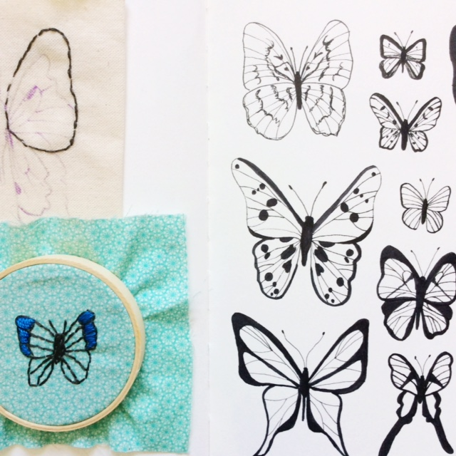 sketchbook, 2x2 Sketchbook, Dana Barbieri, Anne Butera, collaboration, butterflies, mixed media, embroidery, drawing
