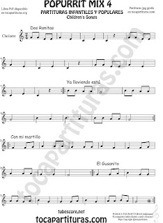 Mix 4 Partitura de Clarinete Dos Ranitas, Ya lloviendo está, Con mi Martillo, El Gusanito Popurrí Mix 4 Sheet Music for Clarinet Music Score