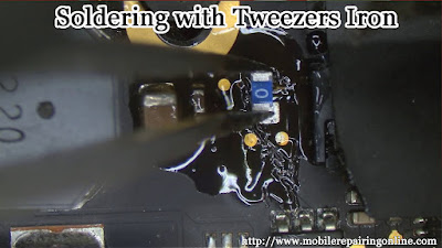The tweezer soldering iron SMD have two heated tips can applied ends of the electronics component