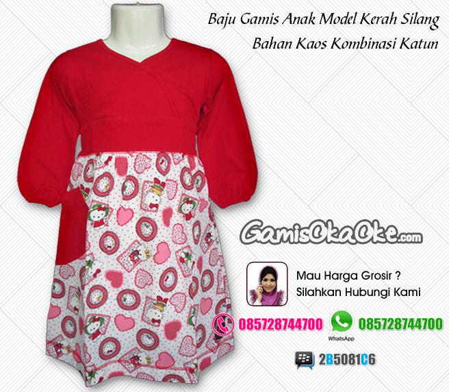 Baju gamis anak oka oke model kerah silang dengan motif hello kitty terbaru online.