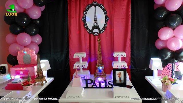 Decoração de aniversário tema Paris - Mesa decorada provençal
