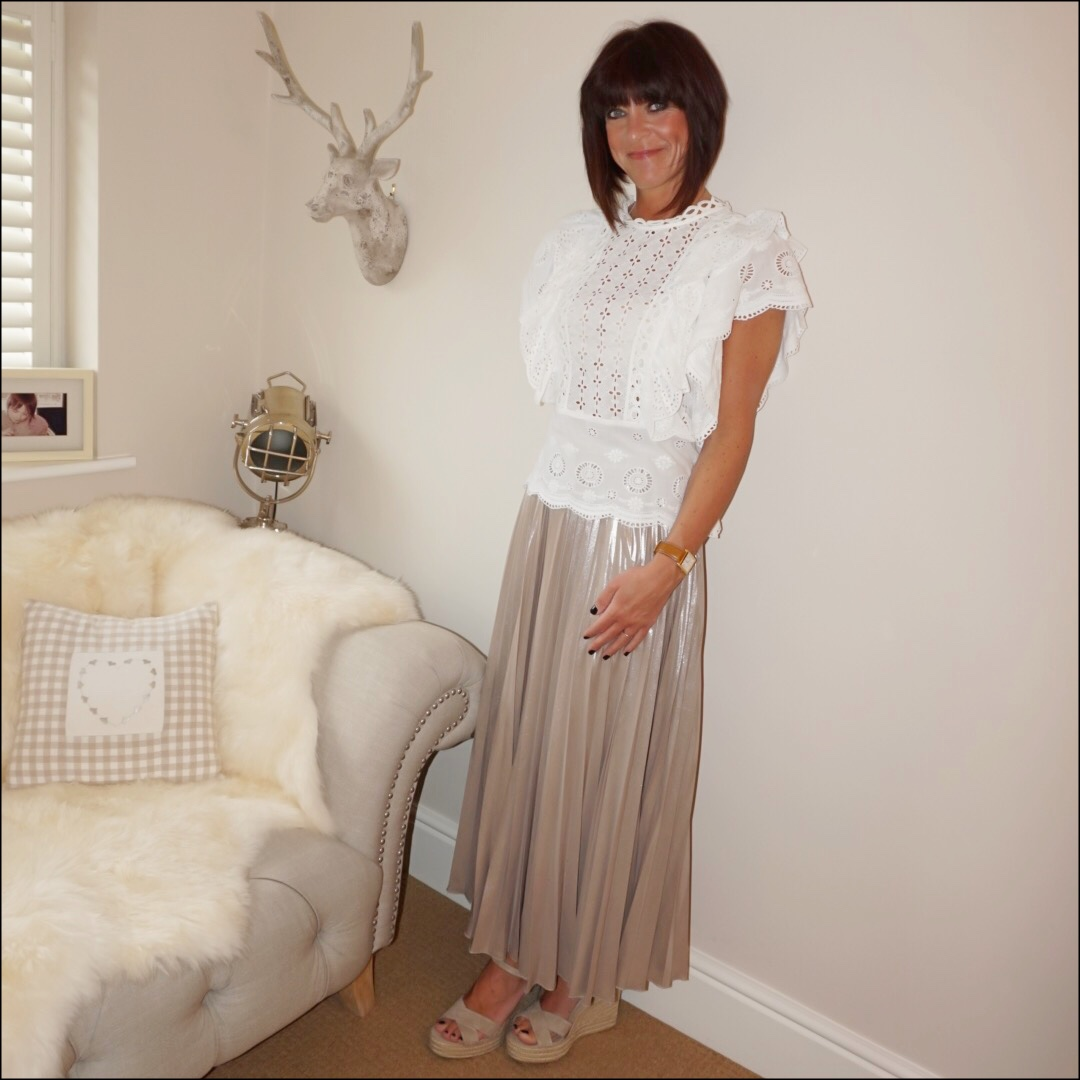 my midlife fashion, monsoon vivien schiffli top, jenny packham metallic gold pleated maxi skirt, the white company espadrille wedge sandals