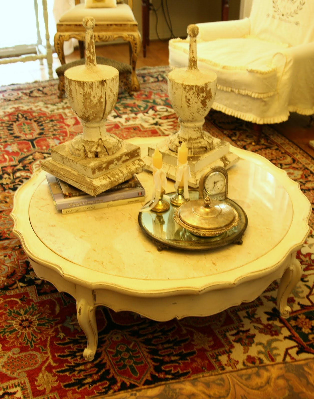 White Marble Circular Coffee Table