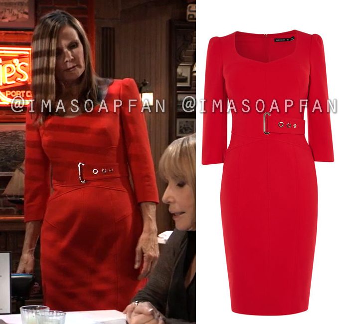 Lucy Coe, Lynn Herring, Red Sheath Dress with Belt Accent, General Hospital, GH