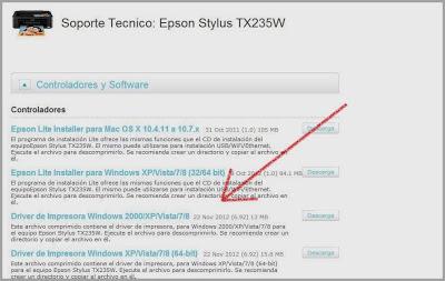 Download the driver for printer Epson Stylus TX235W | en Rellenado