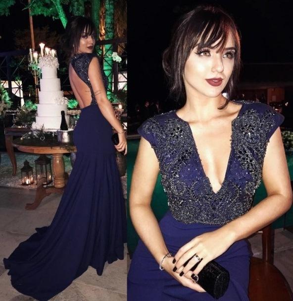 vestido de festa azul marinho