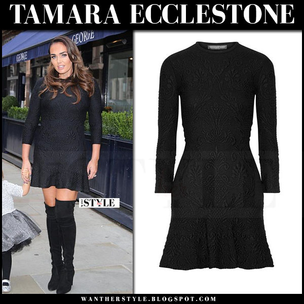 Tamara Ecclestone in black embossed alexander mcqueen mini dress and black suede boots what she wore