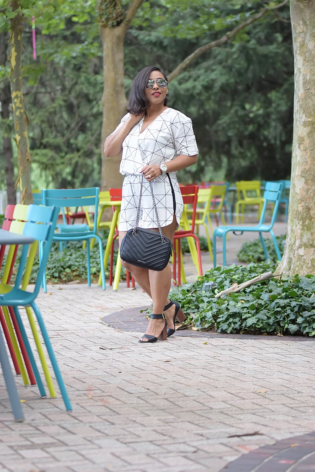 My New Favorite Summer Romper, sara boo, window pane, summer rompers, armandhugon, black and white looks, dc bloggers, Arlington Virginia, summer looks