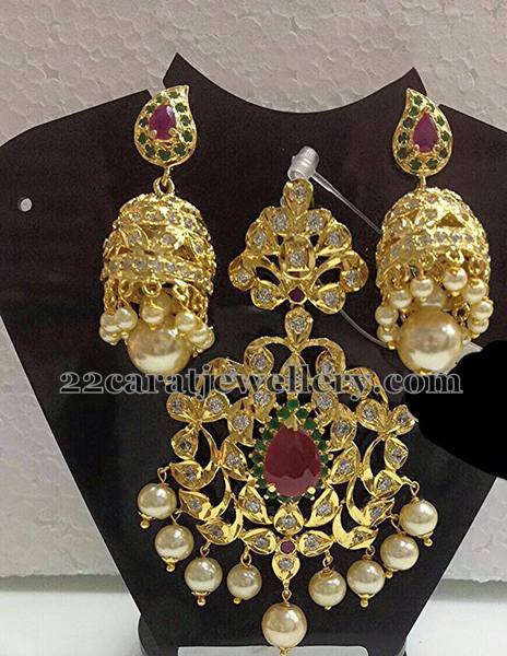 1gram Gold Polki Locket Jhumkas