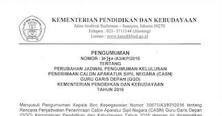 JADWAL KELULUSAN CASN CALON APARATUR SIPIL NEGARA GGD 2016