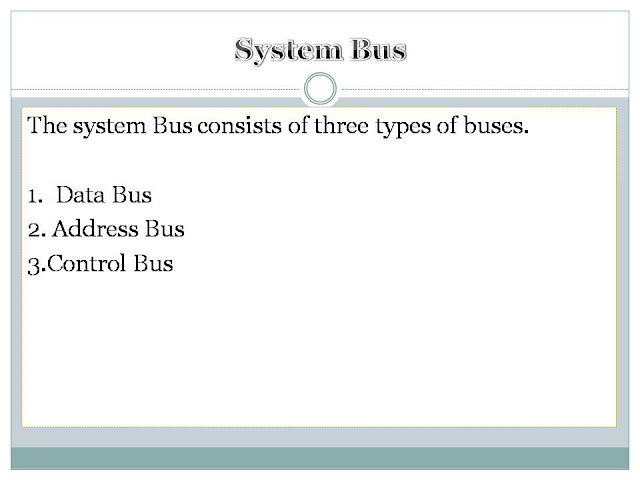 A bus is a path through which data is transferred from one component to other inside system. System bus connects CPU and memory and other components inside system.    A bus is data communication path over which information is transferred a byte or word at a time. System bus connects the central processing unit to main memory on the motherboard. The majority of system buses are made up of 50 to 100 distinct   lines for communication. The system bus consists of three types of buses. The system Bus consists of three types of buses.