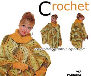 Patrones de poncho y cartera crochet