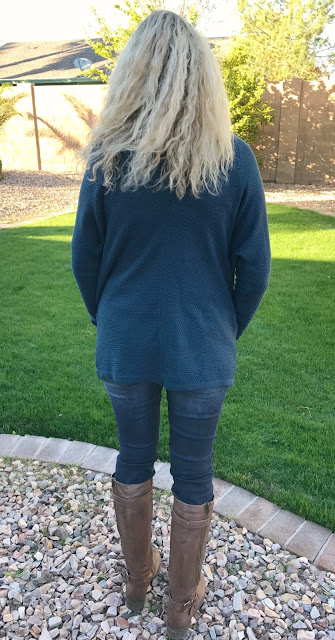 Stitch Fix #29 Review - January 2017 - Staccato Caylie Textured Open Cardigan Back