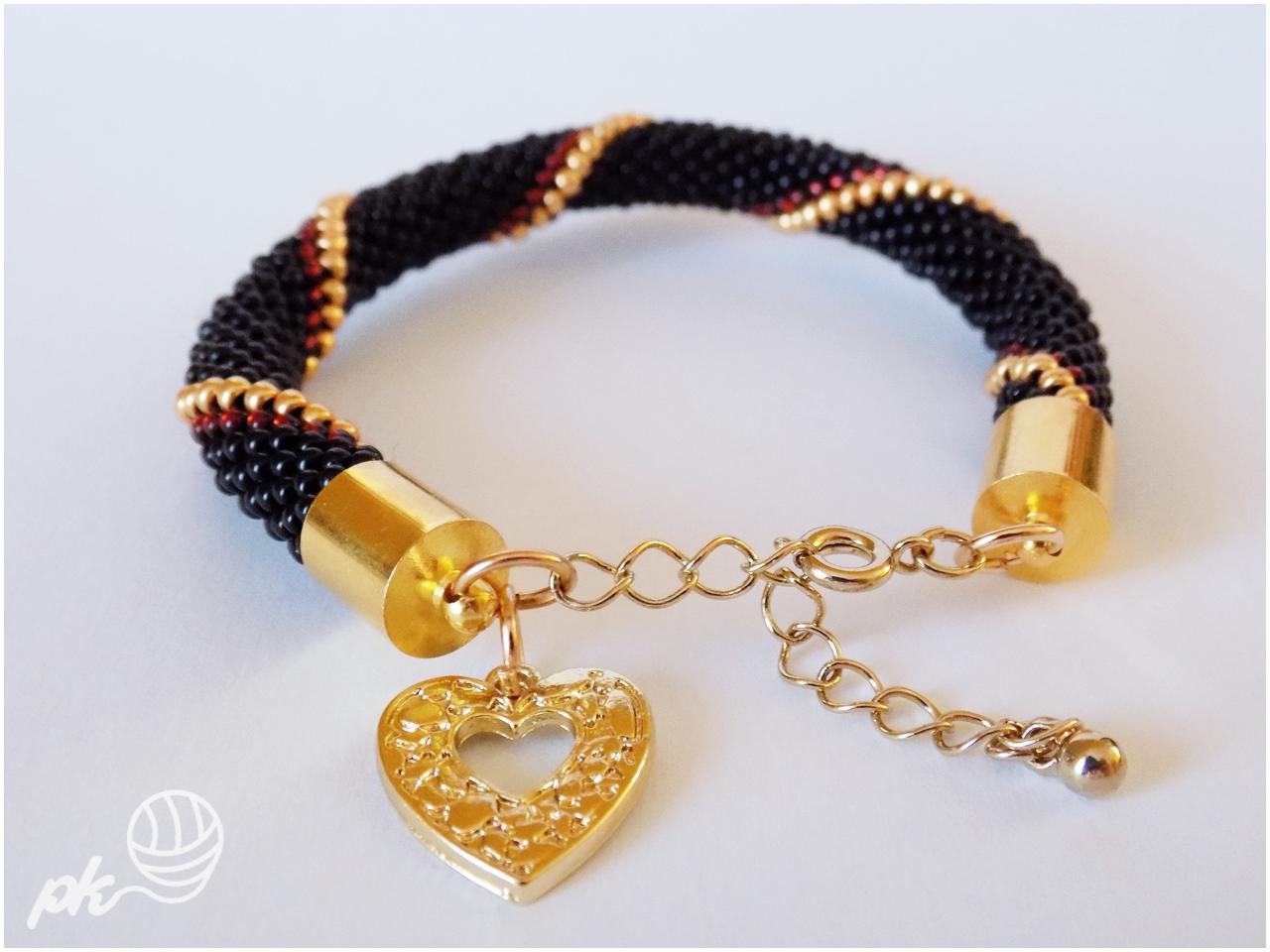 bransoletka, sznur szydełkowo-koralikowy, crochet rope, rękodzieło, handmade, biżuteria