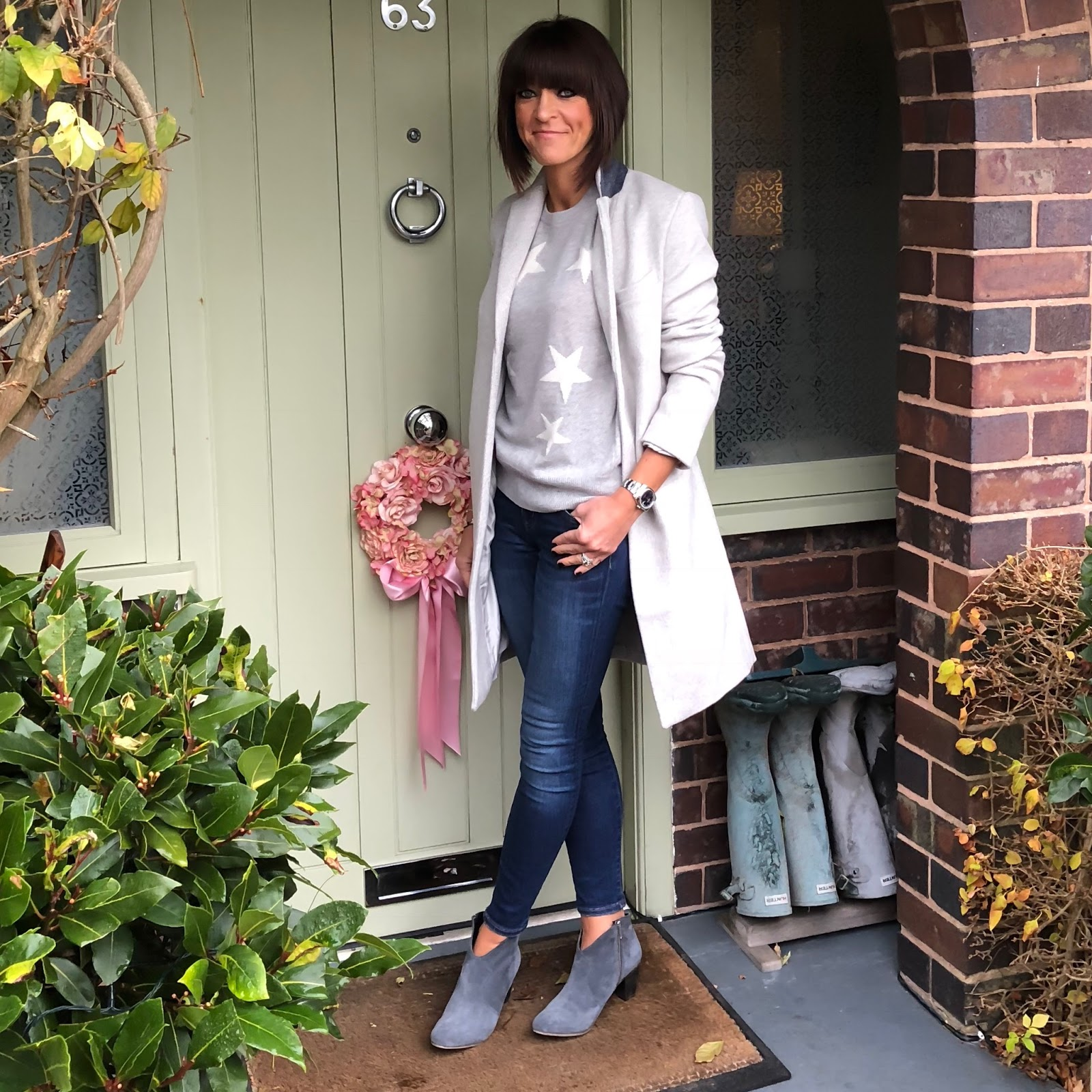 my midlife fashion, marks and spencer star cashmere jumper, great plains nipper wool coat, j crew 8 inch toothpick skinny jeans, hush thornton ankle boots