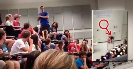 Estudiante alfa se llena de gloria en el salón de clases