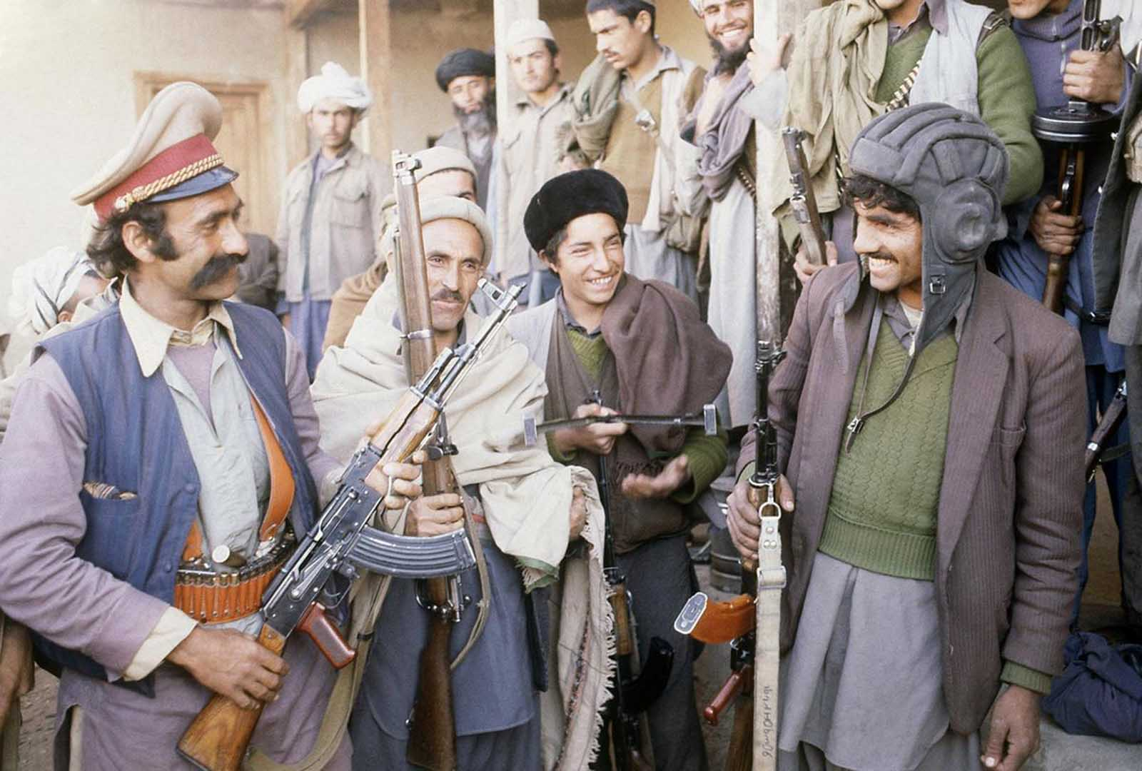 A troop of Muslim rebels equipped with old-fashioned rifles, east of Kabul, on February 21, 1980. At the time, anti-Communist rebels were attacking traffic at will on the main supply route from Pakistan to Afghanistan's capital.