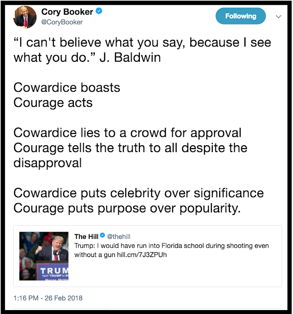 Cory Booker Tweet 2.26.18 response to Trump and Florida school shooting. I accept your lack of knowledge. marchmatron.com