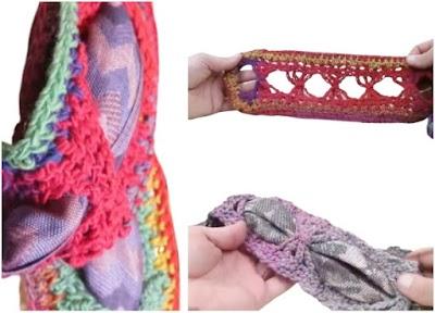 Bufanda calada de crochet para introducir un pañuelo
