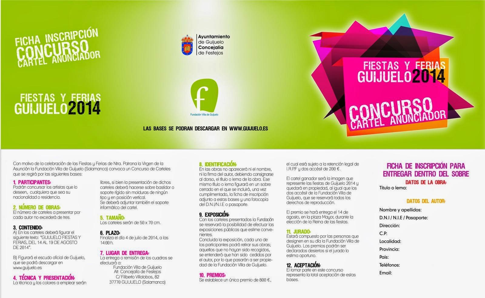 4 (hasta)/Julio. Concurso cartel anunciador Fiestas de Guijuelo. Guijuelo