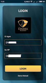 Login Apk Darra Reload Harus Mempunyai Andorid Beserta ID Agen Dan Nomor Terdaftar