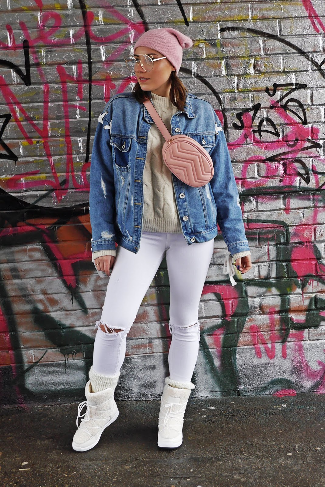 snow boots denim jacket pink beanie outfit look karyn fashion blogger
