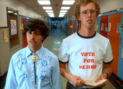 Vote for Pedro from Napoleon Dynamite as your favorite election-themed screenplay, or cast your vote for a write-in.