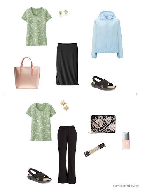 wearing a pastel green print tee shirt with black