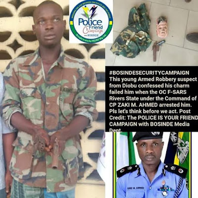 o - My charms failed me -Suspected armed robber confess after being arrested in Rivers State