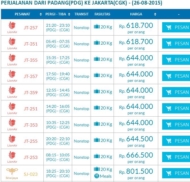 Harga Promo Tiket Pesawat Dari Padang Ke Jakarta Travel Batak
