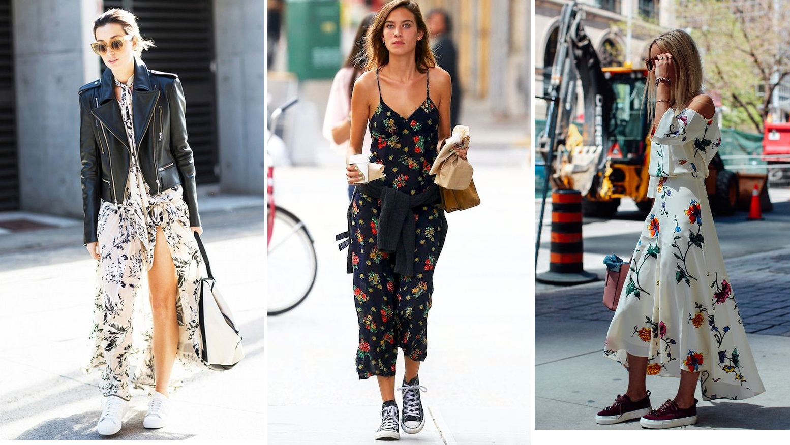 floral midi dress matching sneakers street style