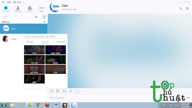 Gửi ảnh GIF trên Zalo PC