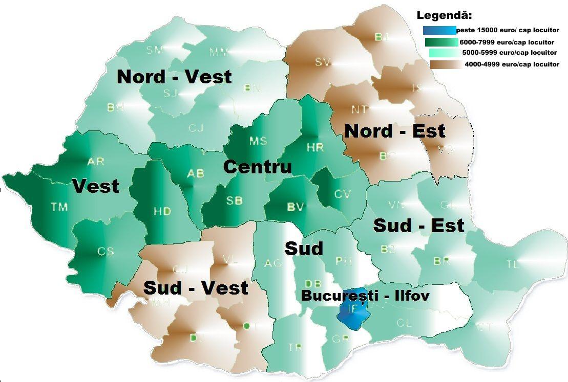Pib pe cap de locuitor și pib total regional in România