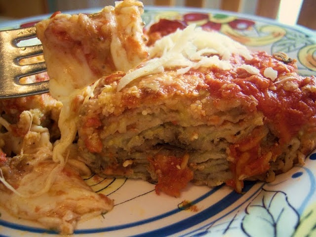 This is a layered casserole using eggplant and cheese similar to a lasagna without meat.