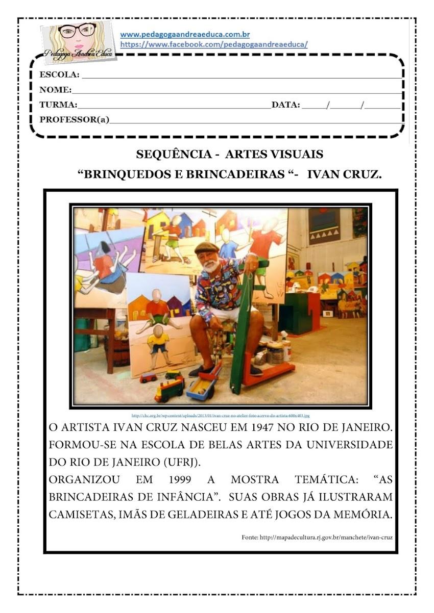 """ATIVIDADE PARA IMPRIMIR - ARTE - """" BRINQUEDOS E BRINCADEIRAS"""" -  IVAN CRUZ"""