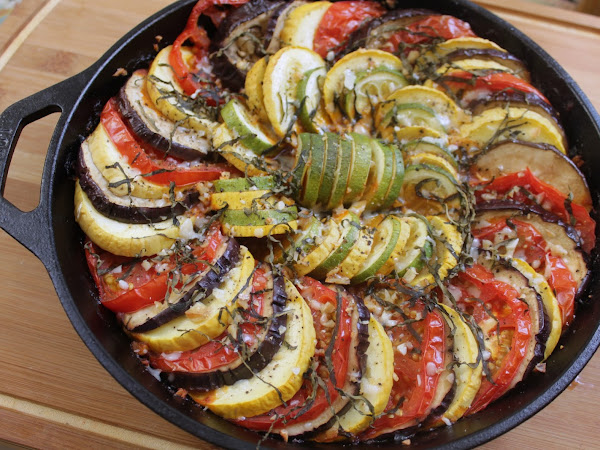 A dish almost too pretty to eat (Summer veggie Ratatouille like the movie)