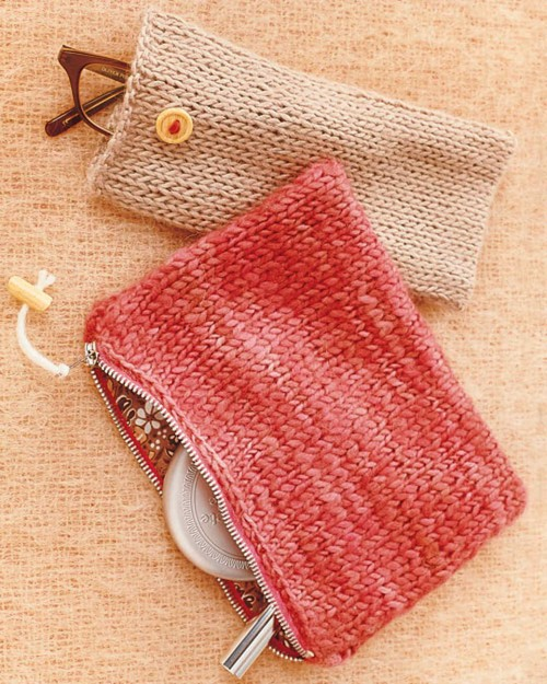 Knit Pouches - Free Pattern