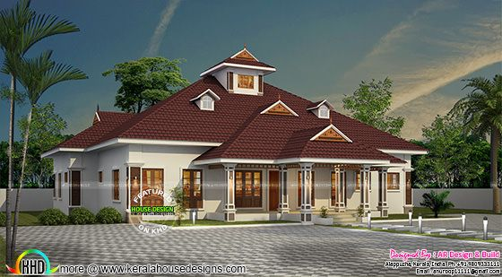 One floor sloped roof home with 4 bedrooms