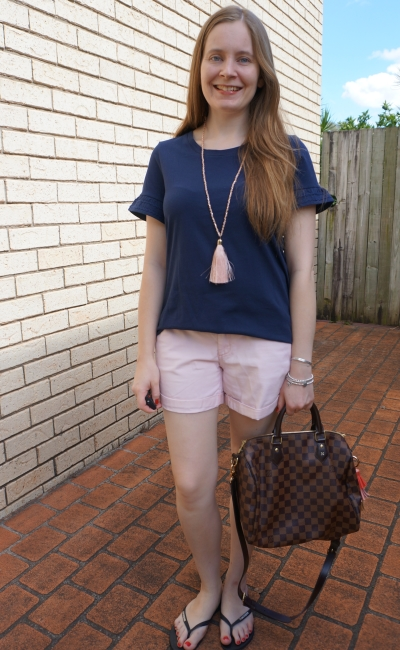 Jeanswest navy frill sleeve tee with blush pink tassel and pastel pink shorts, speedy bandouliere | awayfromblue