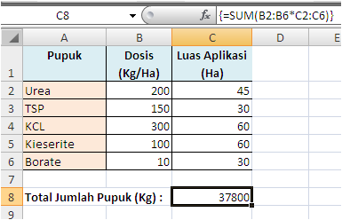 Contoh Formula Array Hasil Tunggal