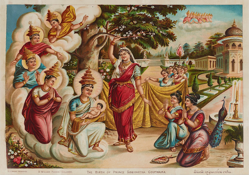 The Birth of Prince Siddhartha Gautama by Buddhist Painter Maligawage Sarlis - Sri Lanka Mid 20th century