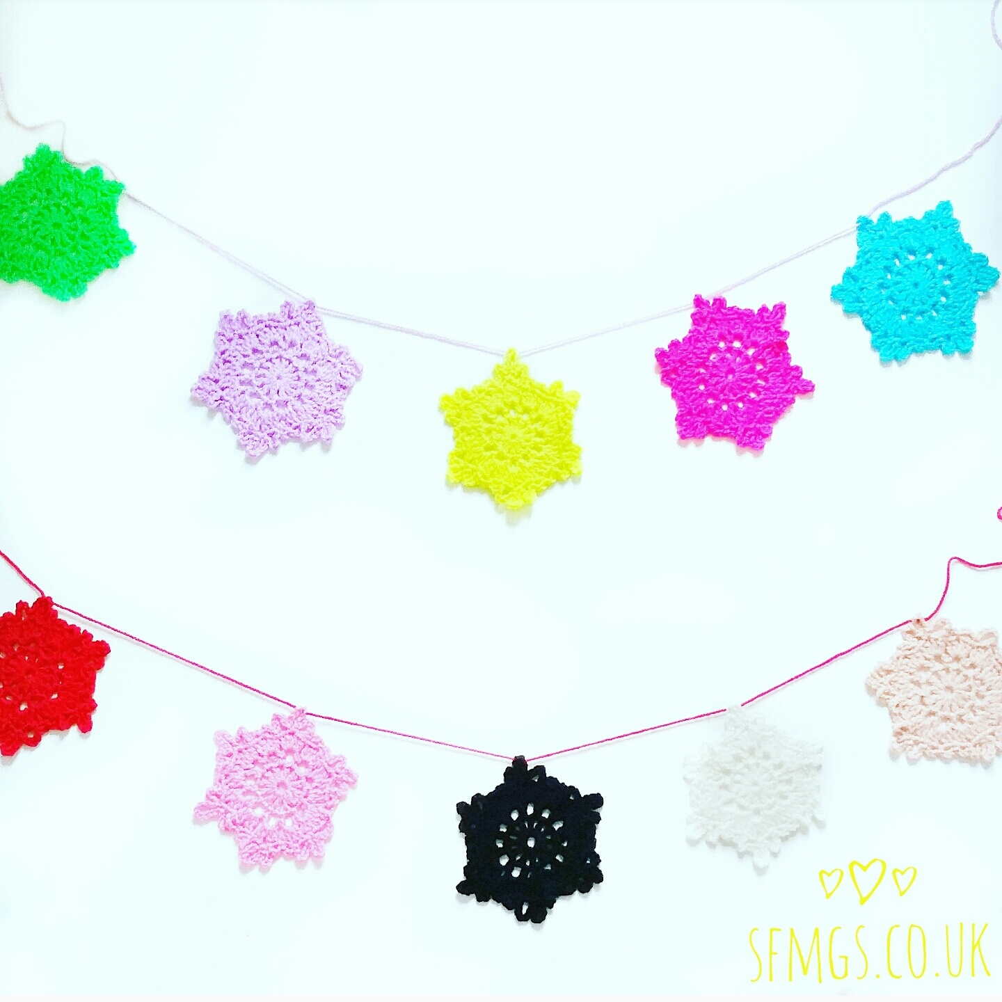 christmas snowflake garland decoration free pattern crochet