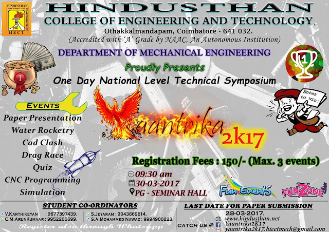 Yaantrika 2K17 Symposium Organized by Hindusthan College Of Engineering and Technology