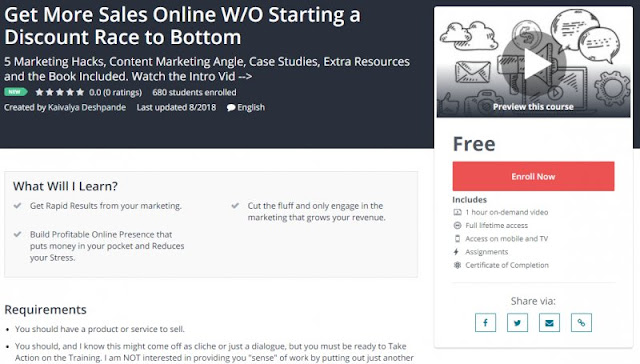 [100% Free] Get More Sales Online W/O Starting a Discount Race to Bottom