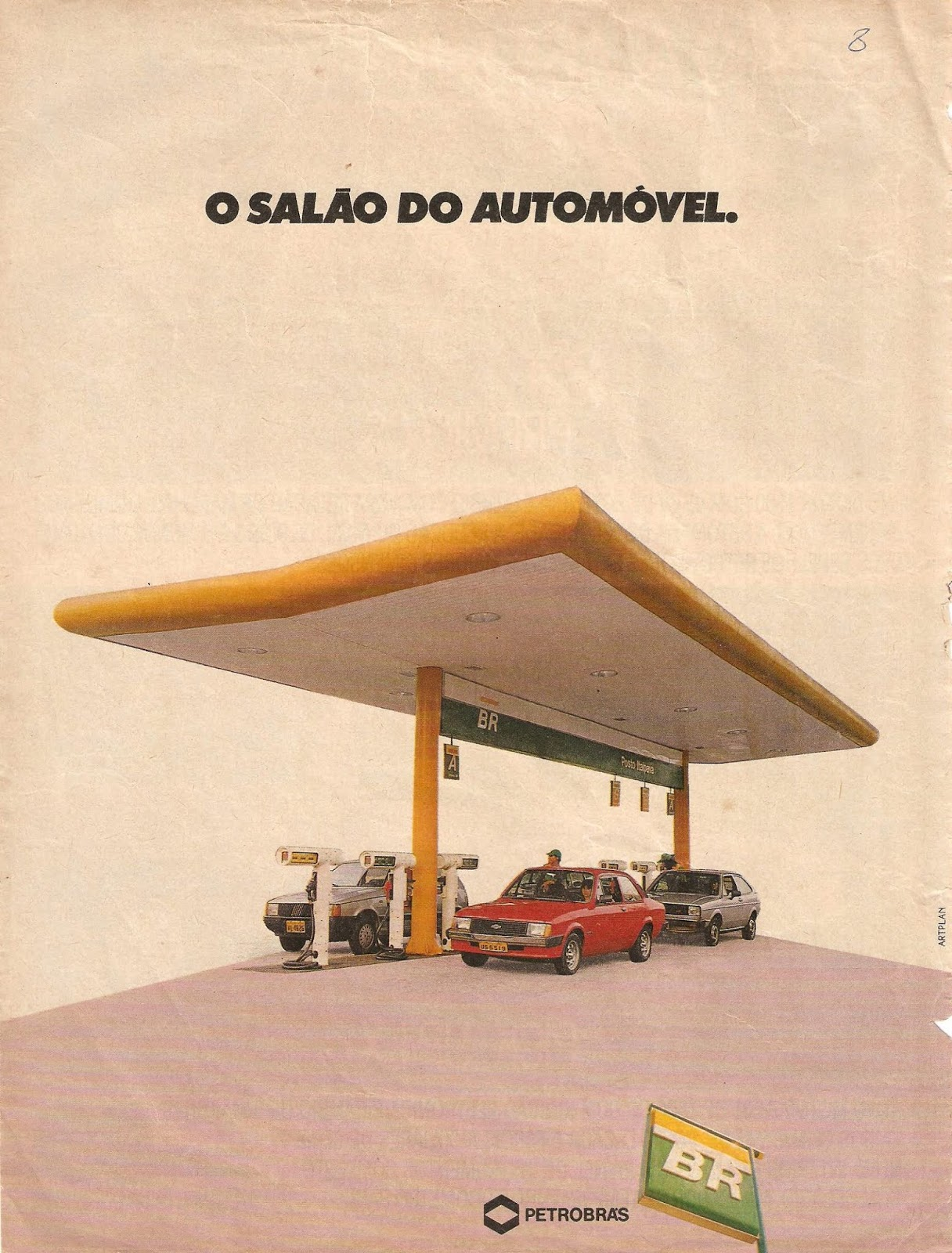 Campanha da Petrobrás promovendo sua participação no Salão do Automóvel em 1988