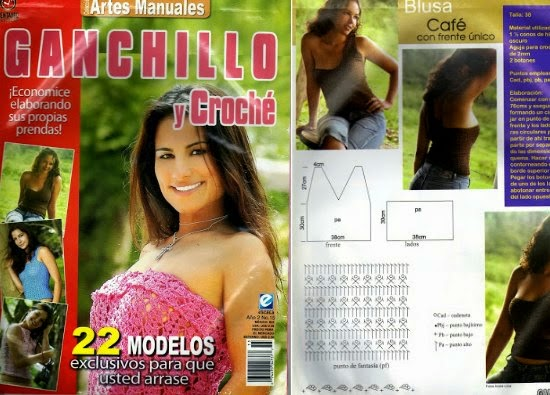 23  Tops patrones de crochet, revista