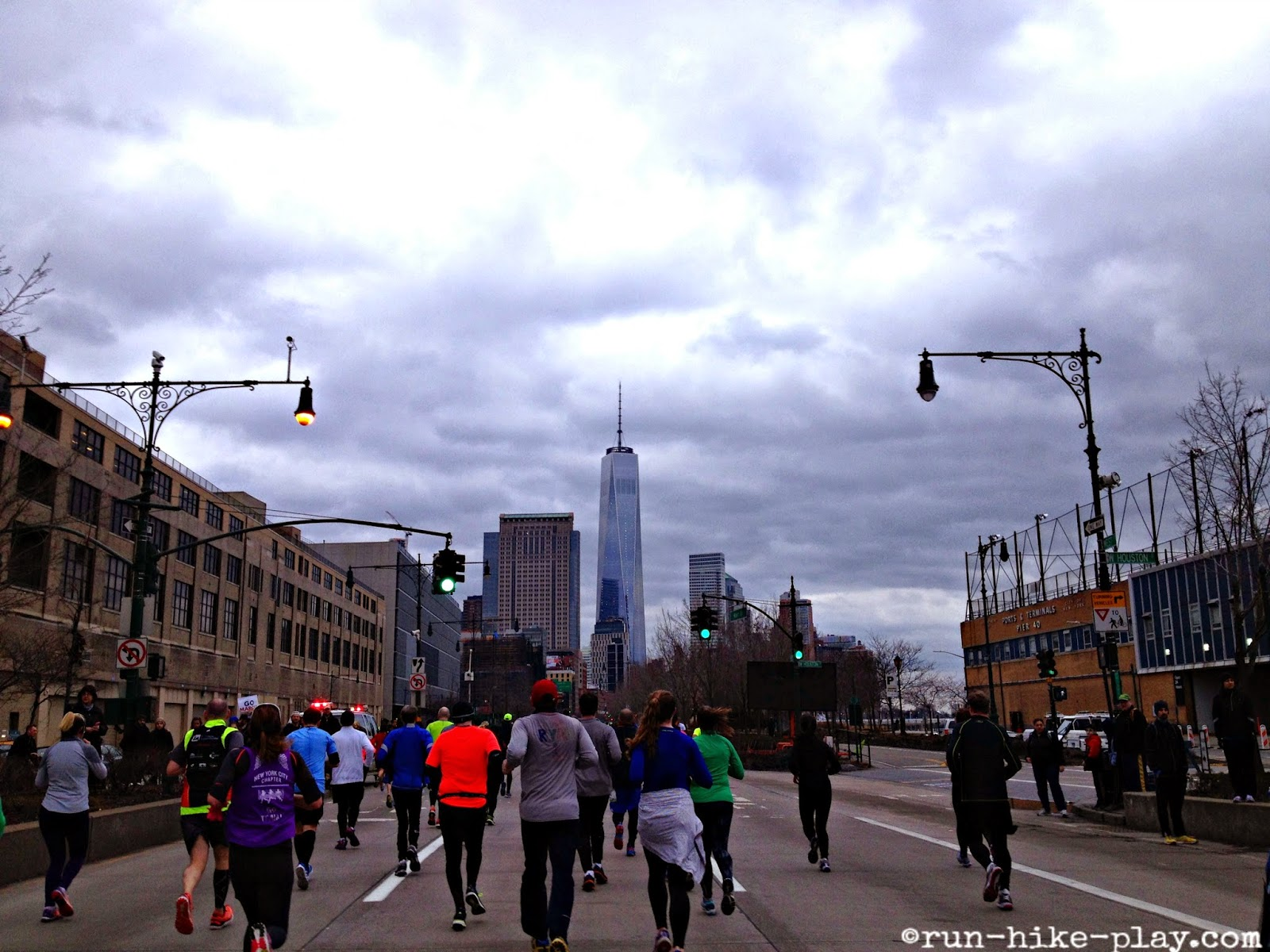 NYC Half Marathon West Side Freeway with Freedom Tower